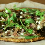 Arugula, Mushroom and Prosciutto Pizza on Cauliflower Rice Crust