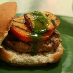 Spicy Turkey Burgers with Grilled Peaches and Cilantro Sauce