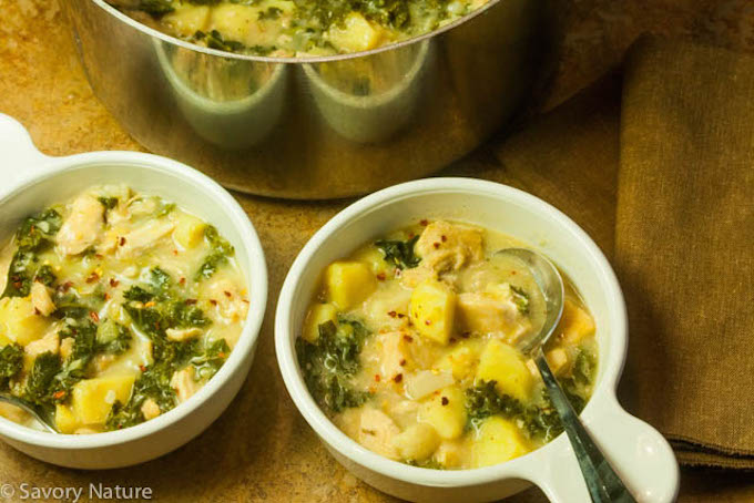 Dijon Chicken Stew with Potatoes and Kale
