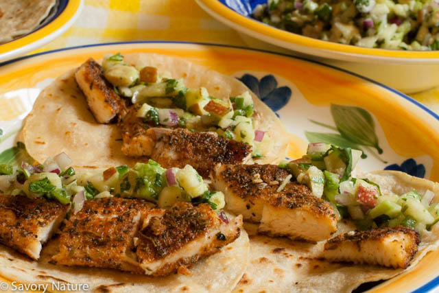 Fish Tacos with Apple Cucumber Avocado Salsa