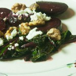 Roasted Beets with Greens, Walnuts and Goat Cheese