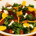 Kale Salad with Beets, Oranges, Pecans and Goat Cheese