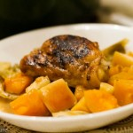 Chicken Thighs with Apple Cider Stewed Squash and Cabbage