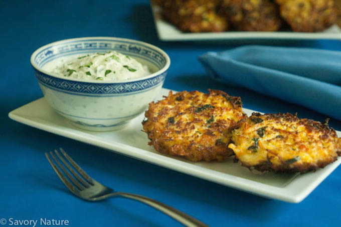 Cauliflower Fritters with Carrot and Spinach