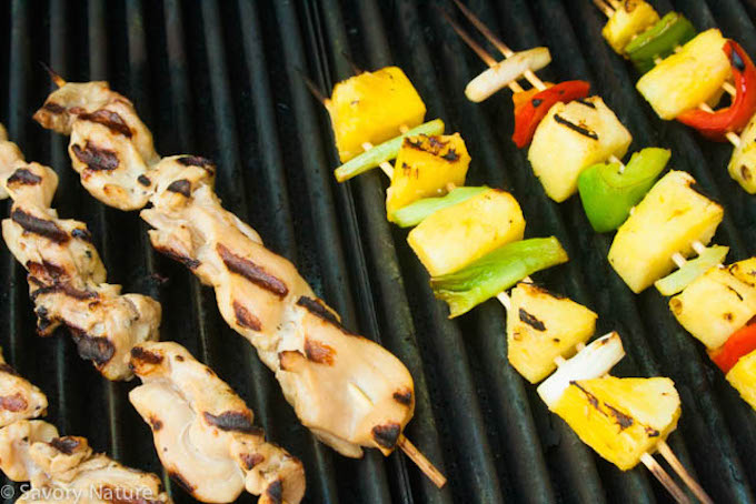 Grilled Chicken, Pineapple and Peppers Grilling