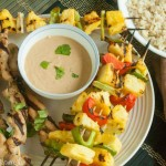 Grilled Chicken, Pineapple and Peppers with Cashew Sauce