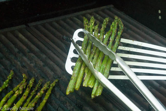 Turning Grilled Asparagus