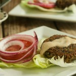 Black, Wild Rice and Chickpea Patties with Tahini Yogurt Sauce