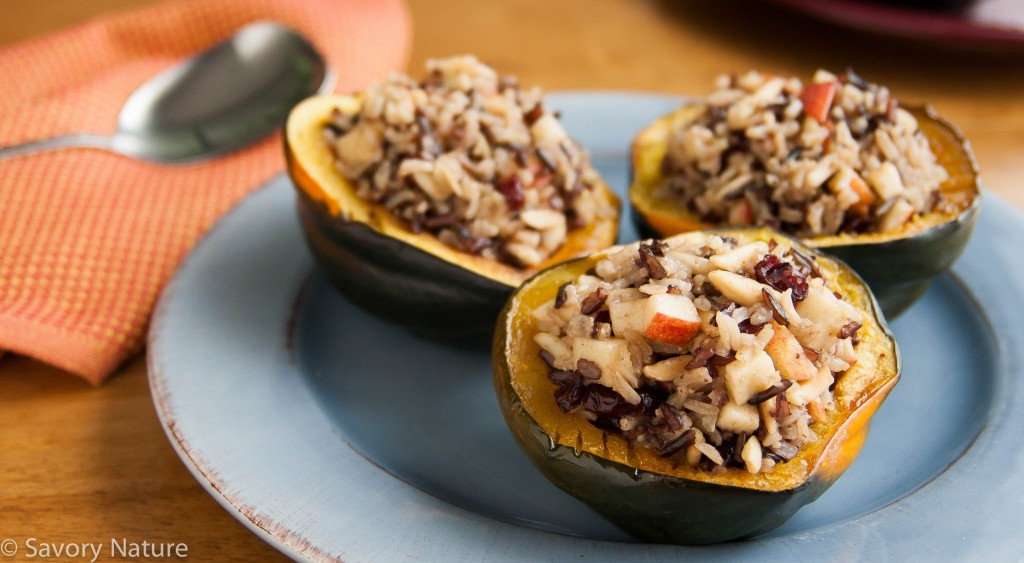 Three Rice Stuffed Acorn Squash