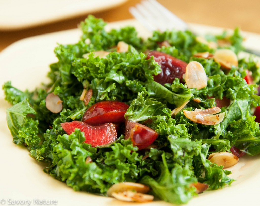Kale Salad with Cherries and Almonds