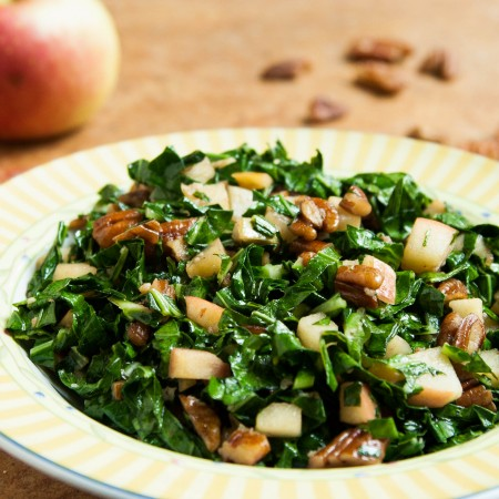 Quick Cooked Collards with Apple and Pecans