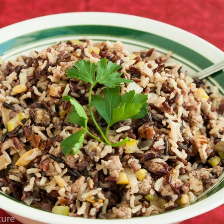 Three Rice Stuffing with Apple and Sausage