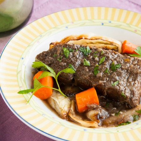 Braised Short Ribs Over Roasted Cabbage