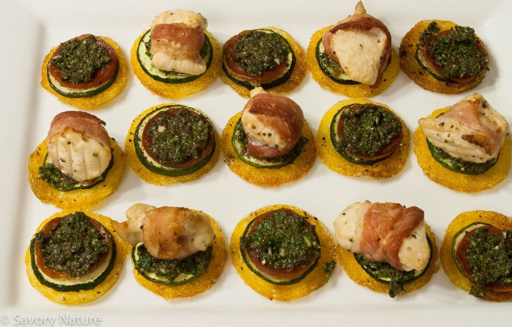 Polenta Rounds with Zucchini, Kale Pesto and Bacon-Wrapped Chicken