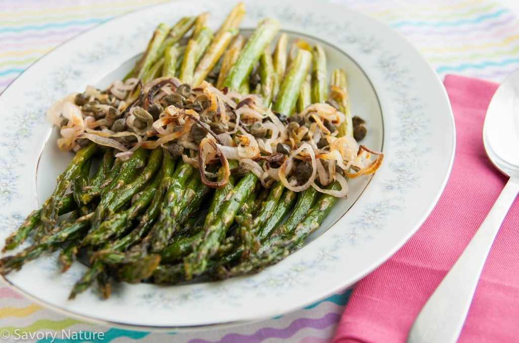 Roasted Asparagus with Shallots and Capers