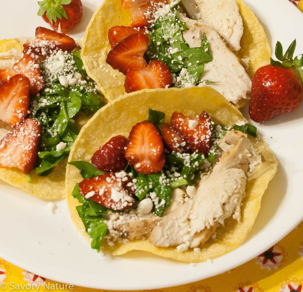 Chicken Spinach and Strawberry Tacos